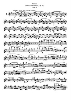 Три больших дуэта для двух флейт, Op.39: Партия II флейты by Фридрих Кулау