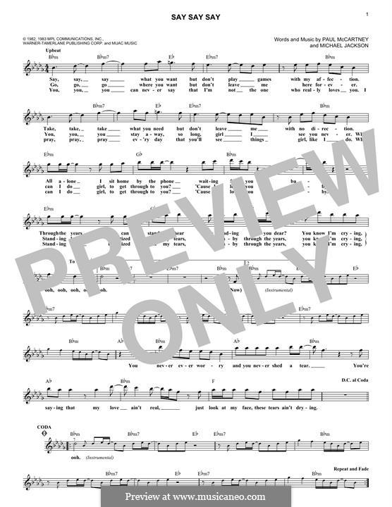 Say Say Say: Для клавишного инструмента by Michael Jackson, Paul McCartney