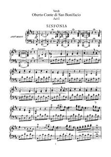Оберто, граф ди Сан-Бонифаччо: Акт I, для солистов, хора и фортепиано by Джузеппе Верди