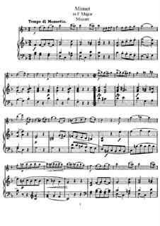 Менуэт для флейты и фортепиано фа мажор: Партитура by Вольфганг Амадей Моцарт