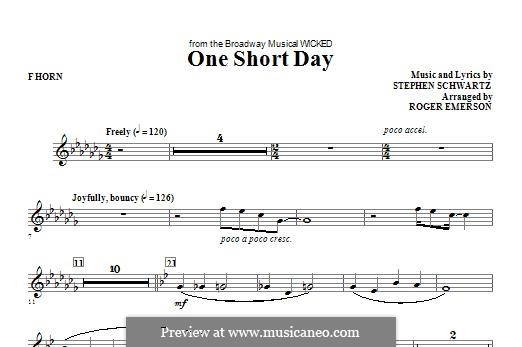 One Short Day (from Wicked): F Horn part by Stephen Schwartz