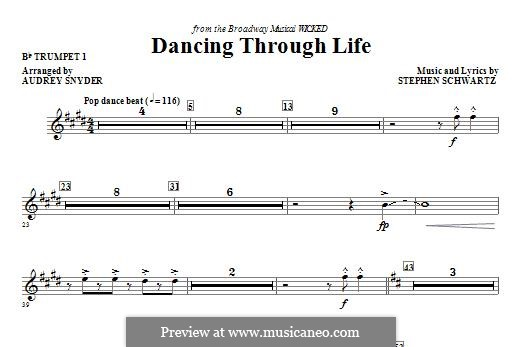 Dancing Through Life (from Wicked): Bb Trumpet 1 part by Stephen Schwartz