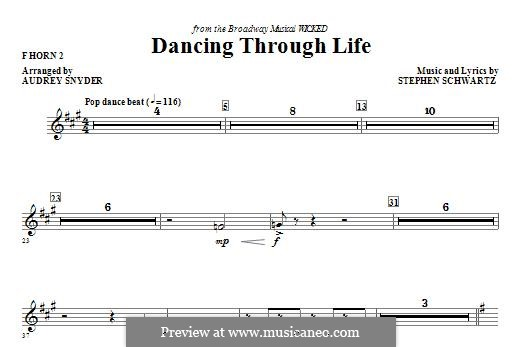 Dancing Through Life (from Wicked): F Horn 2 part by Stephen Schwartz