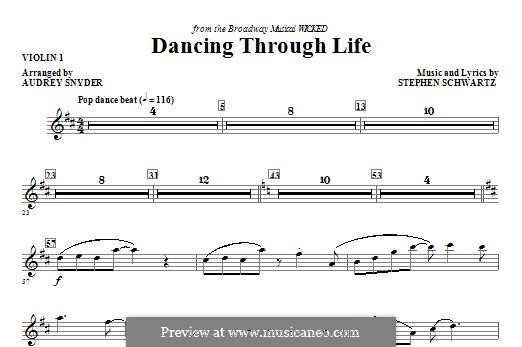 Dancing Through Life (from Wicked): Violin 1 part by Stephen Schwartz