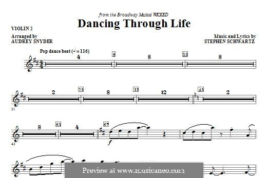 Dancing Through Life (from Wicked): Violin 2 part by Stephen Schwartz