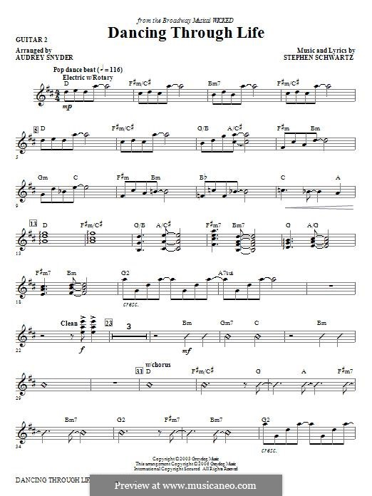 Dancing Through Life (from Wicked): Guitar 2 part by Stephen Schwartz