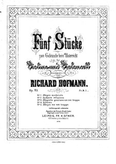 Пять пьес для скрипки и виолончели, Op.83: Партия скрипки by Ричард Хофман