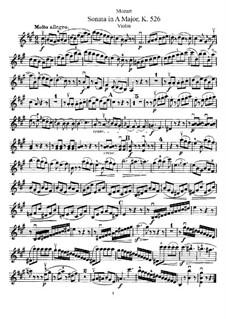 Соната для скрипки и фортепиано No.35 ля мажор, K.526: Сольная партия by Вольфганг Амадей Моцарт