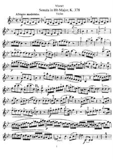 Соната для скрипки и фортепиано No.26 cи-бемоль мажор, K.378: Сольная партия by Вольфганг Амадей Моцарт