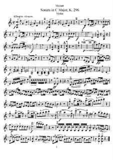 Соната для скрипки и фортепиано No.17 до мажор, K.296: Сольная партия by Вольфганг Амадей Моцарт