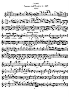 Соната для скрипки и фортепиано No.20 до мажор, K.303: Сольная партия by Вольфганг Амадей Моцарт
