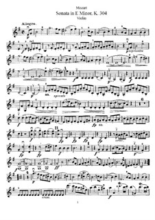 Соната для скрипки и фортепиано ми минор, K.304: Сольная партия by Вольфганг Амадей Моцарт