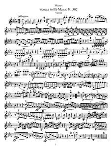 Соната для скрипки и фортепиано No.19 ми-бемоль мажор, K.302: Сольная партия by Вольфганг Амадей Моцарт