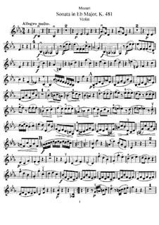 Соната для скрипки и фортепиано No.33 ми-бемоль мажор, K.481: Сольная партия by Вольфганг Амадей Моцарт