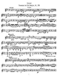 Соната для скрипки и фортепиано ми-бемоль мажор, K.58: Сольная партия by Вольфганг Амадей Моцарт
