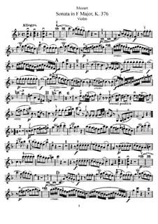 Соната для скрипки и фортепиано No.24 фа мажор, K.376: Сольная партия by Вольфганг Амадей Моцарт