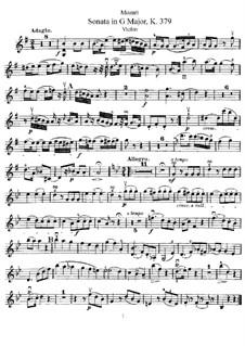 Соната для скрипки и фортепиано No.27 соль мажор, K.379: Сольная партия by Вольфганг Амадей Моцарт