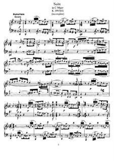 Сюита до мажор, K.399: Для фортепиано by Вольфганг Амадей Моцарт
