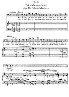 Бал-маскарад: Eri tu che macchiavi, for voice and piano by Джузеппе Верди