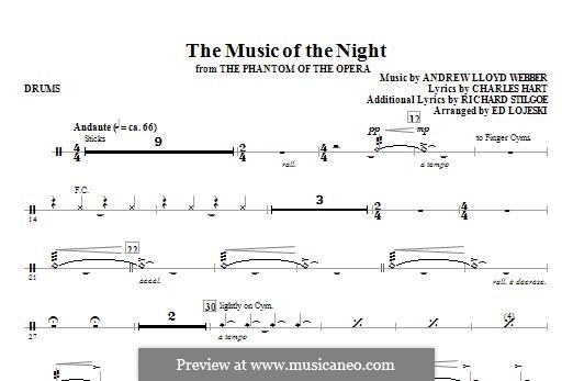 The Music of the Night: Drums part by Andrew Lloyd Webber