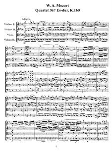 Струнный квартет No.7 ми-бемоль мажор, K.160: Партитура и партии by Вольфганг Амадей Моцарт