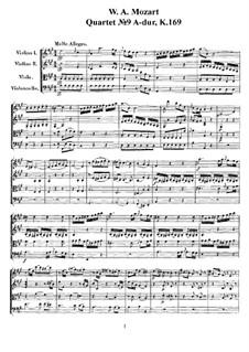 Струнный квартет No.9 ля мажор, K.169: Партитура, Партии by Вольфганг Амадей Моцарт