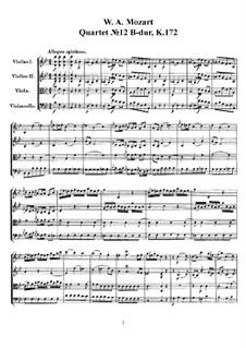 Струнный квартет No.12 cи-бемоль мажор, K.172: Партитура, Партии by Вольфганг Амадей Моцарт