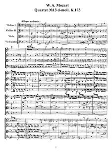 Струнный квартет No.13 ре минор, K.173: Партитура, Партии by Вольфганг Амадей Моцарт