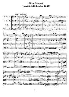 Струнный квартет No.16 ми-бемоль мажор, K.428: Партитура by Вольфганг Амадей Моцарт