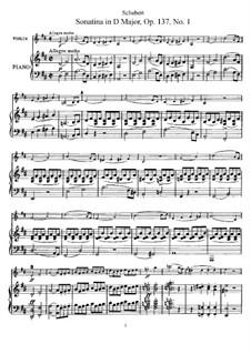 Сонатина для скрипки и фортепиано No.1 ре мажор, D.384 Op.137: Партитура by Франц Шуберт