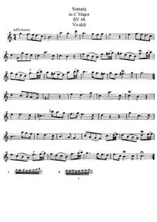 Соната для флейты и бассо континуо до мажор, RV 48: Сольная партия by Антонио Вивальди