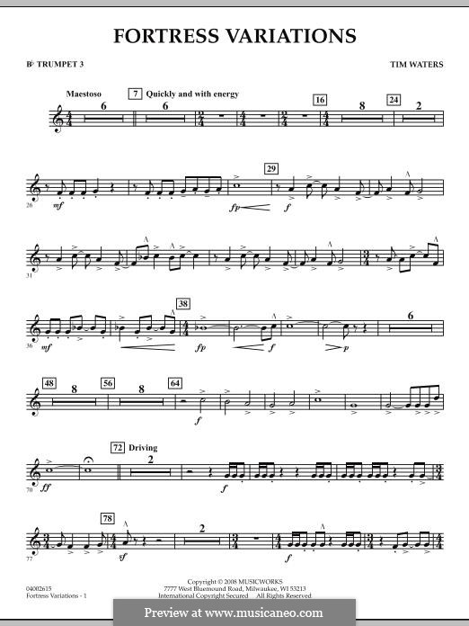 Fortress Variations: Bb Trumpet 3 part by Tim Waters