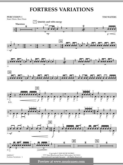 Fortress Variations: Percussion 1 part by Tim Waters