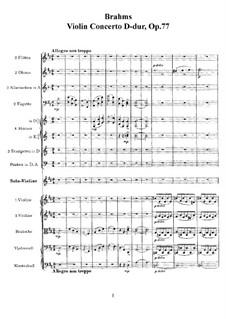 Концерт для скрипки с оркестром ре мажор, Op.77: Партитура by Иоганнес Брамс