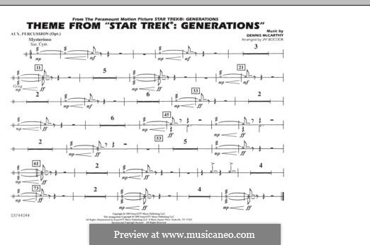 Star Trek(R) Generations: Aux Percussion part by Dennis McCarthy