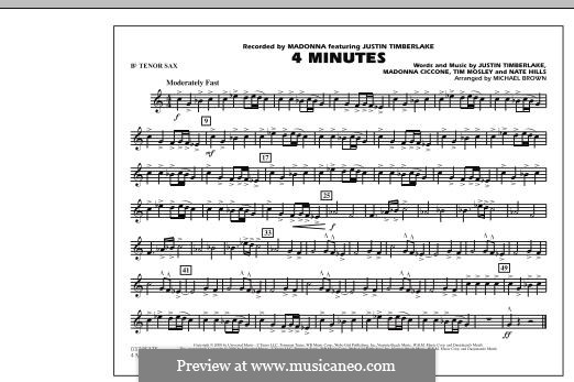 4 Minutes (Madonna featuring Justin Timberlake): Bb Tenor Sax part by Madonna, Floyd Nathaniel Hills, Timbaland