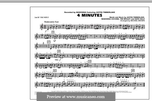 4 Minutes (Madonna featuring Justin Timberlake): 2nd Bb Trumpet part by Madonna, Floyd Nathaniel Hills, Timbaland