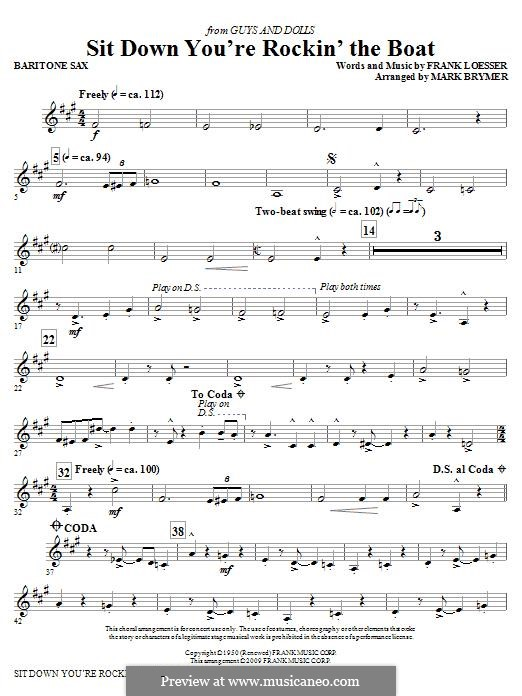 Sit Down, You're Rockin' the Boat: Baritone Sax part by Frank Loesser