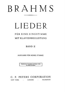 Песни для высокого голоса II: Песни для высокого голоса II by Иоганнес Брамс