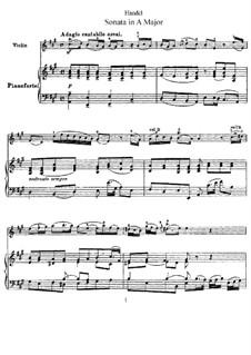 Соната для скрипки и клавесина ля мажор, HWV 372 Op.1 No.14: Версия для скрипки и фортепиано – партитура, партия by Георг Фридрих Гендель