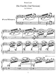 Транскрипция на тему песни 'Форель' Шуберта, S.564: Вторая версия by Франц Лист