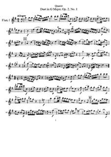 Шесть дуэтов для двух флейт, QV 3:2 Op.2: No.1-3 – партия первой флейты by Иоганн Иоахим Квантц