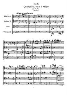 Струнный квартет No.40 фа мажор, Hob.III/48 Op.50 No.5: Партитура, Партии by Йозеф Гайдн