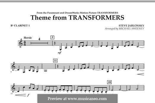 Theme from Transformers: Bb Clarinet 1 part by Steve Jablonsky