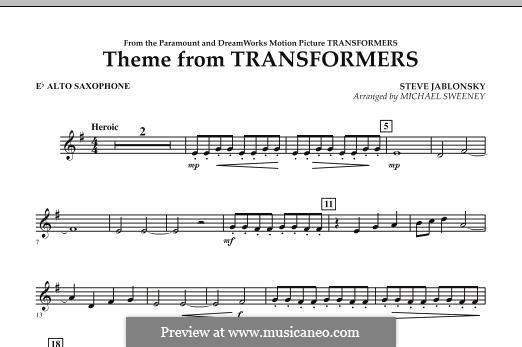Theme from Transformers: Eb Alto Saxophone part by Steve Jablonsky