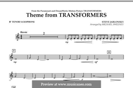 Theme from Transformers: Bb Tenor Saxophone part by Steve Jablonsky
