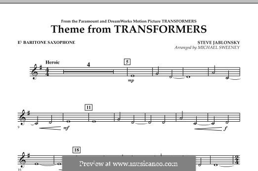 Theme from Transformers: Eb Baritone Saxophone part by Steve Jablonsky