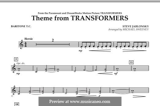 Theme from Transformers: Baritone T.C. part by Steve Jablonsky