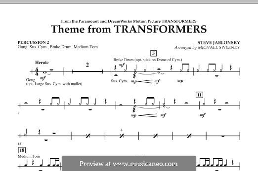 Theme from Transformers: Percussion 2 part by Steve Jablonsky