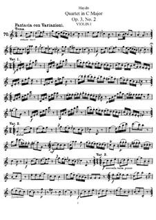 Струнный квартет до мажор, Hob.III/14 Op.3 No.2: Партии by Йозеф Гайдн